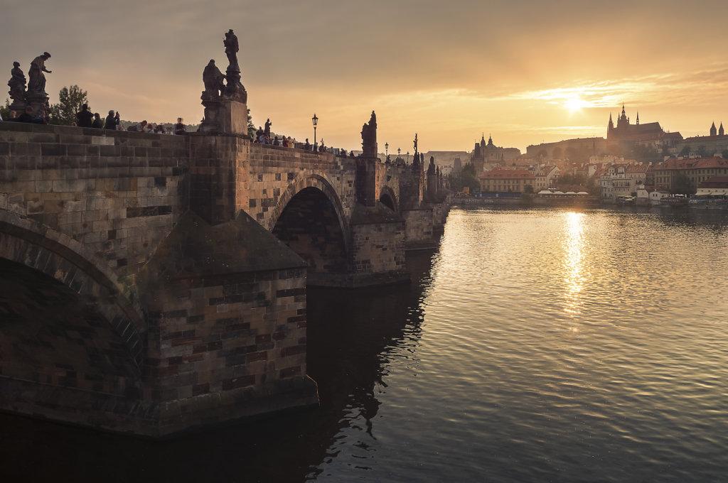 Golden sunset in the golden city